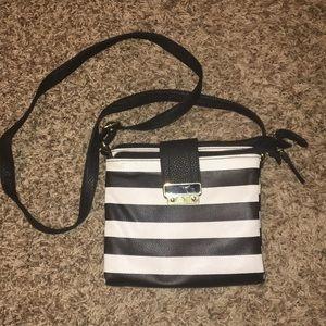 Adorable black and white striped crossbody purse